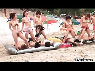 Sexy Japanese group of girls getting